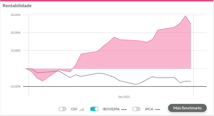 melhores ações setembro de 2021: gráfico de rentabilidade da Minerva exibindo resultados de setembro.
