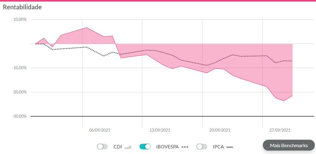 gráfico exibindo a rentabilidade da Magazine Luiza em setembro.