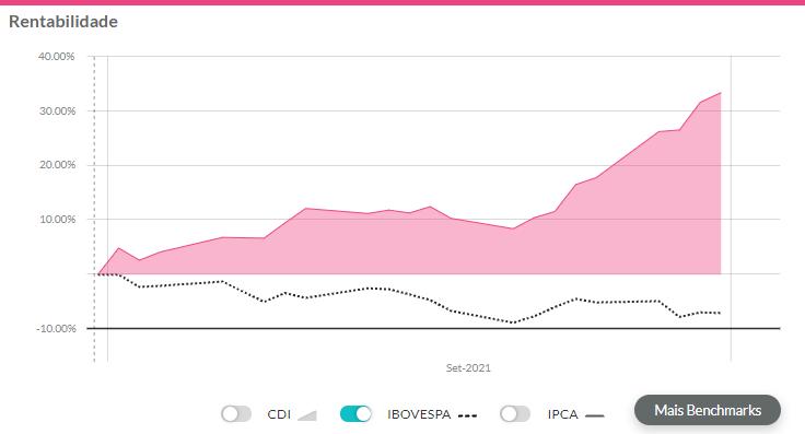 melhores ações setembro de 2021: gráfico de rentabilidade da Marfrig exibindo resultados de setembro.