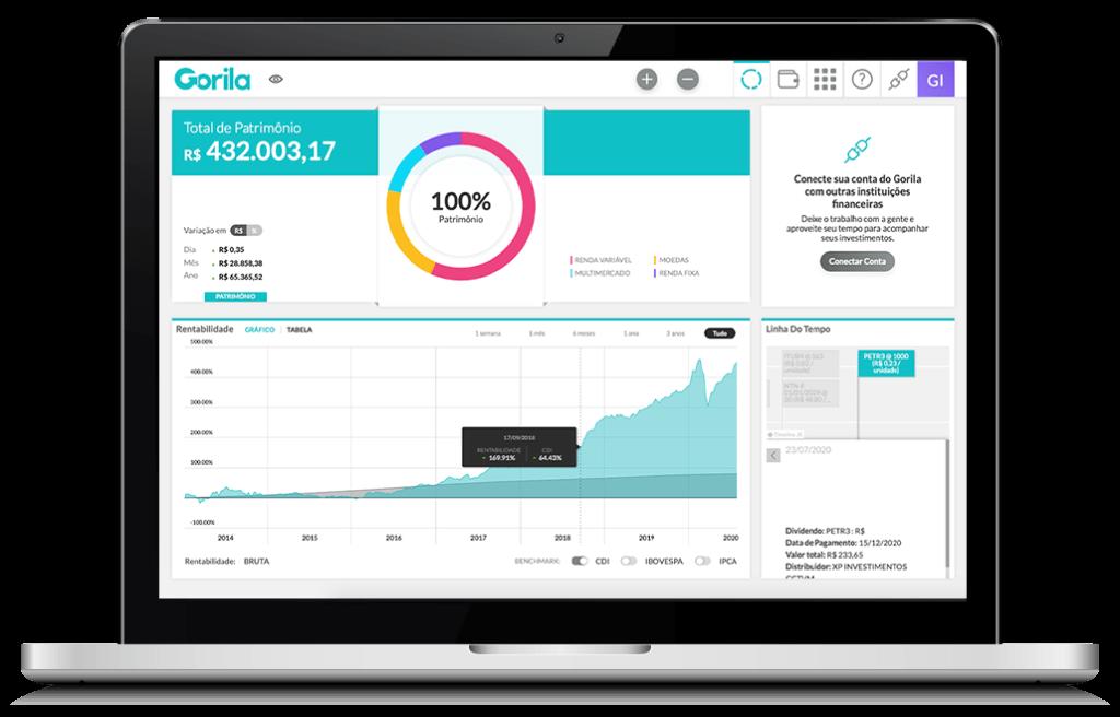 Notebook mostrando a tela principal da plataforma de controle de investimentos
