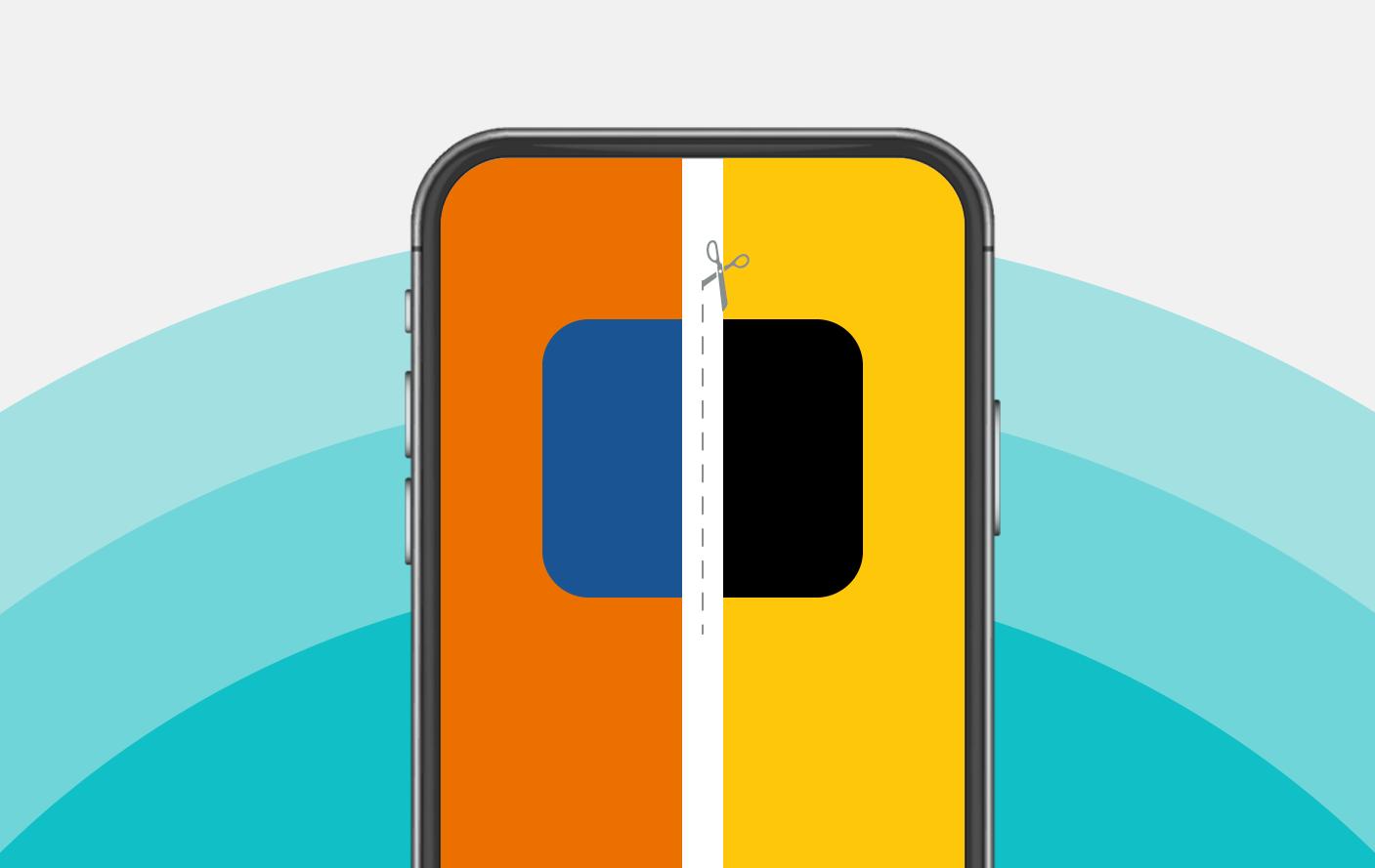 XP: imagem mostra tela do celular com cores do itaú e da xp sendo separadas por uma tesoura.