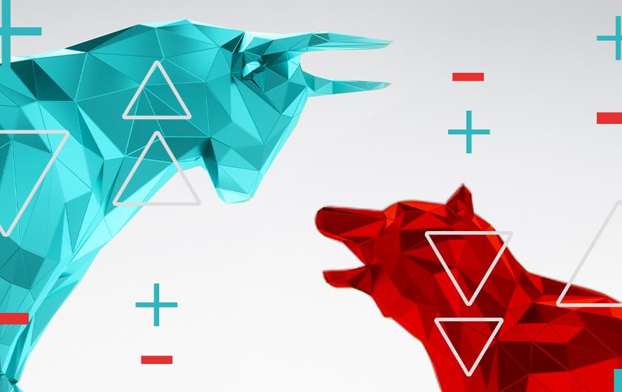 melhores ações setembro 2021: arte gráfica onde se vê um touro azul e um urso vermelho se encarando, representando os conceitos de bearmarket e bullmarket.