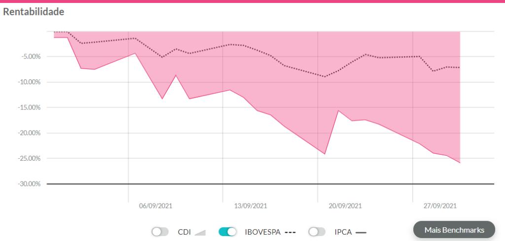 gráfico de rentabilidade da Via exibindo resultados de setembro.