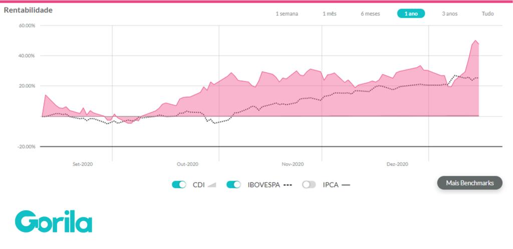 gráfico de rentabilidade avançada extraído do Gorila